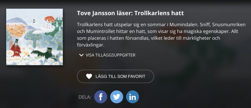länk Tove Jansson läser Trollkarlens hatt