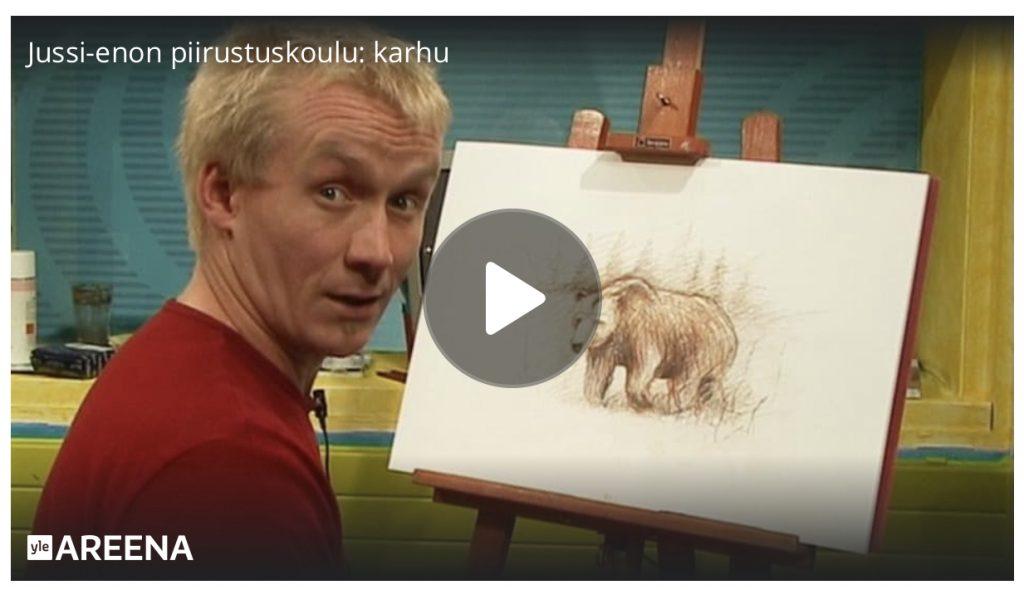 linkki yle areena jussi-enon piirustuskoulu opi piirtämään karhu