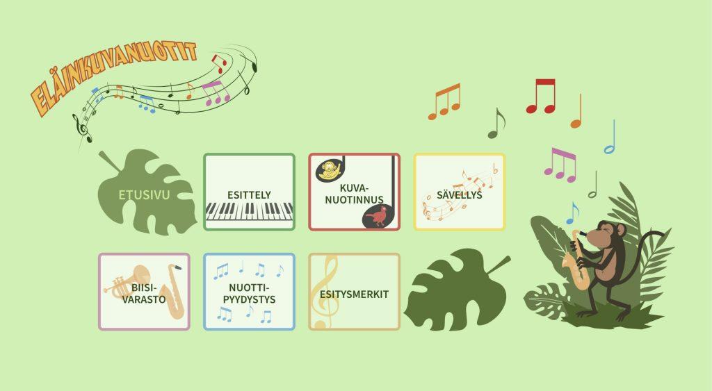 linkki opettele musiikinalkeita eläinkuvanuottien avulla