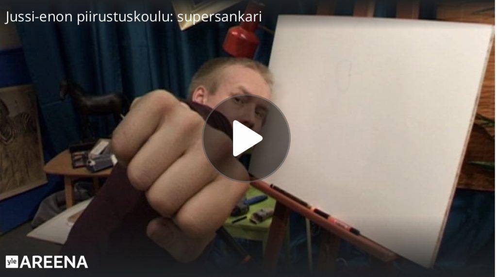 linkki yle areena jussi-enon piirustuskoulu piirrä supersankari